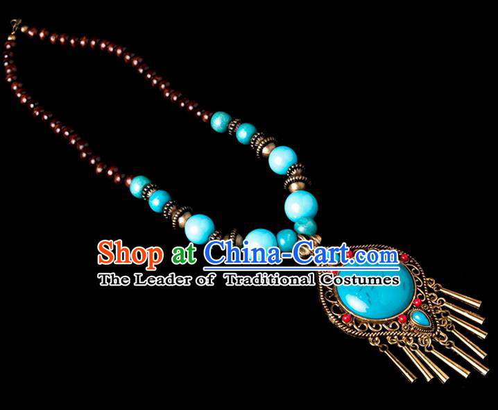 Traditional Chinese Zang Nationality Crafts, China Handmade Tibet Beads Blue Drop-shaped Tassel Sweater Chain, Tibetan Ethnic Minority Necklace Accessories Pendant for Women