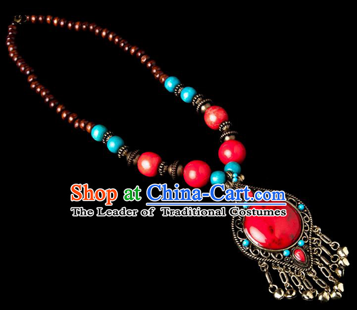 Traditional Chinese Zang Nationality Crafts, China Handmade Tibet Beads Red Drop-shaped Tassel Sweater Chain, Tibetan Ethnic Minority Necklace Accessories Pendant for Women