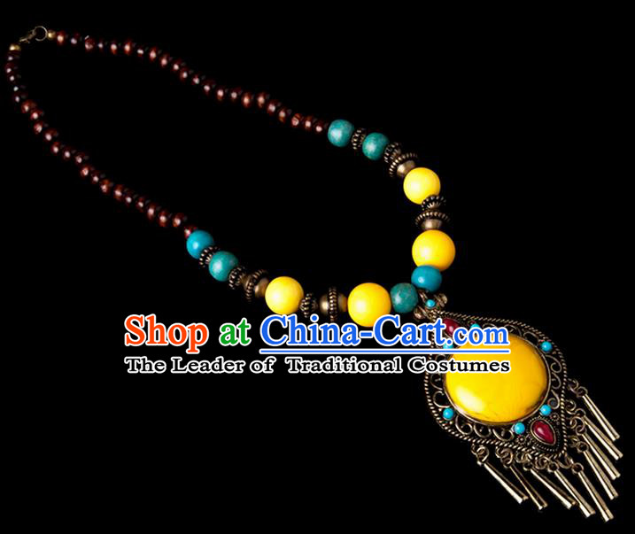 Traditional Chinese Zang Nationality Crafts, China Handmade Tibet Beads Yellow Drop-shaped Tassel Sweater Chain, Tibetan Ethnic Minority Necklace Accessories Pendant for Women