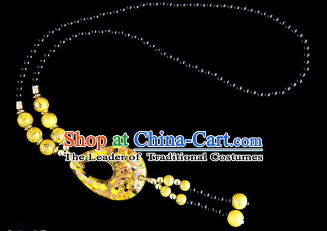 Traditional Chinese Zang Nationality Crafts, China Handmade Tibet Coloured Glaze Beads Yellow Drop-shaped Tassel Sweater Chain, Tibetan Ethnic Minority Necklace Accessories Pendant for Women