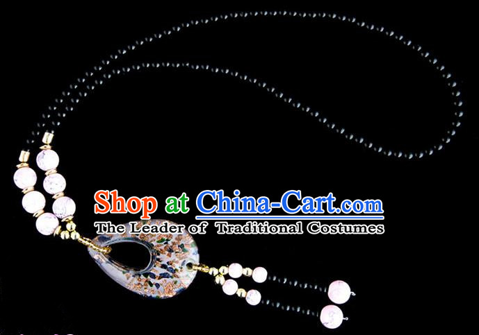 Traditional Chinese Zang Nationality Crafts, China Handmade Tibet Coloured Glaze Beads Pink Drop-shaped Tassel Sweater Chain, Tibetan Ethnic Minority Necklace Accessories Pendant for Women