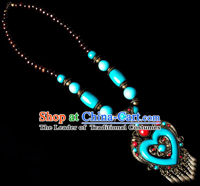 Traditional Chinese Zang Nationality Crafts, China Handmade Tibet Blue Beads Heart-shaped Tassel Sweater Chain, Tibetan Ethnic Minority Necklace Accessories Pendant for Women