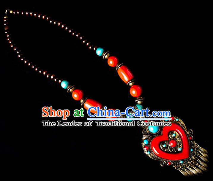 Traditional Chinese Zang Nationality Crafts, China Handmade Tibet Red Beads Heart-shaped Tassel Sweater Chain, Tibetan Ethnic Minority Necklace Accessories Pendant for Women