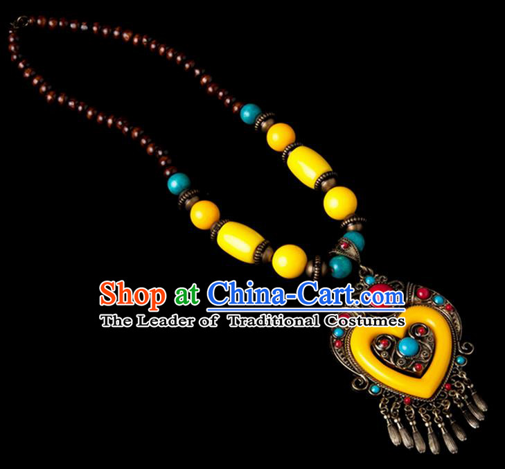 Traditional Chinese Zang Nationality Crafts, China Handmade Tibet Yellow Beads Heart-shaped Tassel Sweater Chain, Tibetan Ethnic Minority Necklace Accessories Pendant for Women