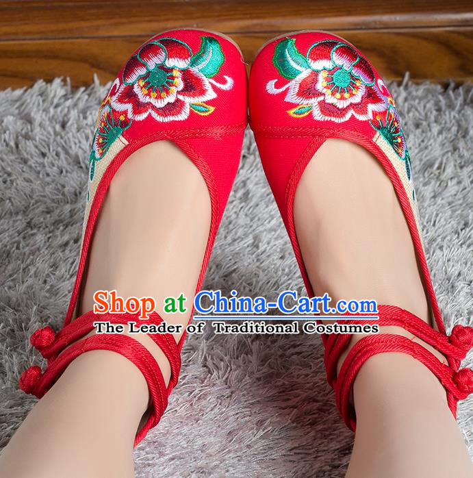 Traditional Chinese Shoes, China Handmade Linen Embroidered Peony Red Shoes, Ancient Princess Cloth Shoes for Women