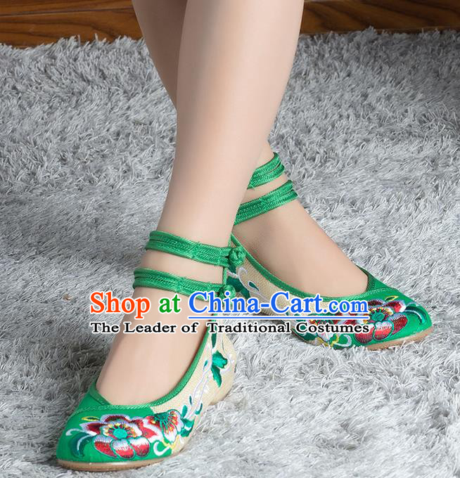 Traditional Chinese Shoes, China Handmade Linen Embroidered Peony Green Shoes, Ancient Princess Cloth Shoes for Women