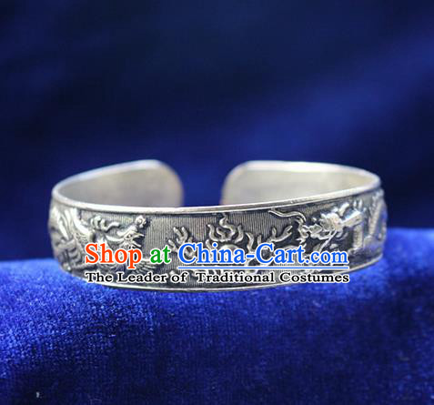 Traditional Chinese Miao Nationality Crafts Jewelry Accessory Bangle, Hmong Handmade Miao Silver Classical Dragon and Phoenixe Bracelet, Miao Ethnic Minority Silver Bracelet Accessories for Women