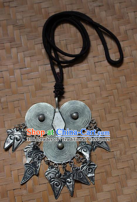 Traditional Chinese Miao Nationality Crafts Jewelry Accessory, Hmong Handmade Miao Silver Owl Tassel Pendant, Miao Ethnic Minority Necklace Accessories Sweater Chain Pendant for Women