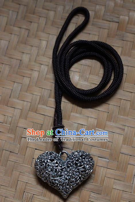 Traditional Chinese Miao Nationality Crafts Jewelry Accessory, Hmong Handmade Miao Silver Longevity Lock Heart Pendant, Miao Ethnic Minority Necklace Accessories Sweater Chain Pendant for Women