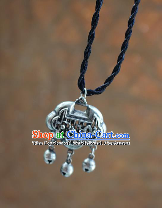 Traditional Chinese Miao Nationality Crafts Jewelry Accessory, Hmong Handmade Miao Silver Longevity Lock Pendant, Miao Ethnic Minority Necklace Accessories Sweater Chain Pendant for Women