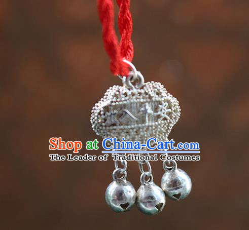 Traditional Chinese Miao Nationality Crafts Jewelry Accessory, Hmong Handmade Miao Silver Bells Longevity Lock Pendant, Miao Ethnic Minority Necklace Accessories Sweater Chain Pendant for Women