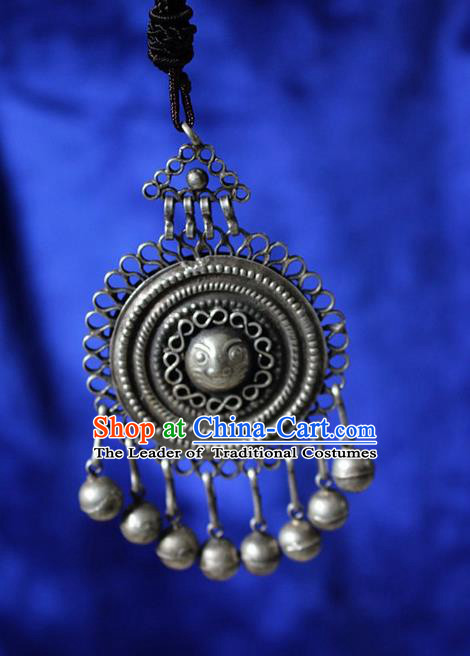 Traditional Chinese Miao Nationality Crafts Jewelry Accessory, Hmong Handmade Miao Silver Bells Tassel Pendant, Miao Ethnic Minority Necklace Accessories Sweater Chain Pendant for Women