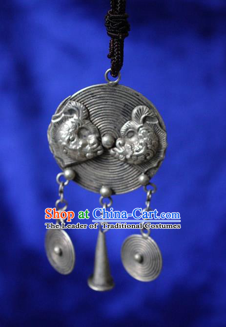 Traditional Chinese Miao Nationality Crafts Jewelry Accessory, Hmong Handmade Miao Silver Double Fish Heart-shaped Pendant, Miao Ethnic Minority Necklace Accessories Sweater Chain Pendant for Women