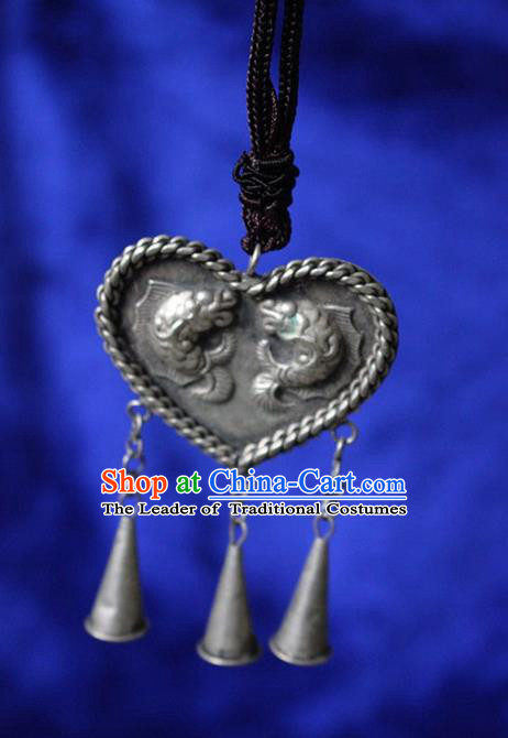 Traditional Chinese Miao Nationality Crafts Jewelry Accessory, Hmong Handmade Miao Silver Kiss Fish Heart-shaped Pendant, Miao Ethnic Minority Necklace Accessories Sweater Chain Pendant for Women
