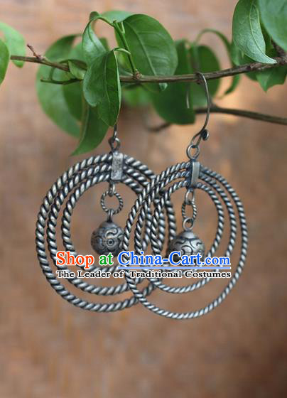 Traditional Chinese Miao Nationality Crafts Jewelry Accessory Classical Earbob Accessories, Hmong Handmade Miao Silver Palace Annulus Earrings, Miao Ethnic Minority Eardrop for Women