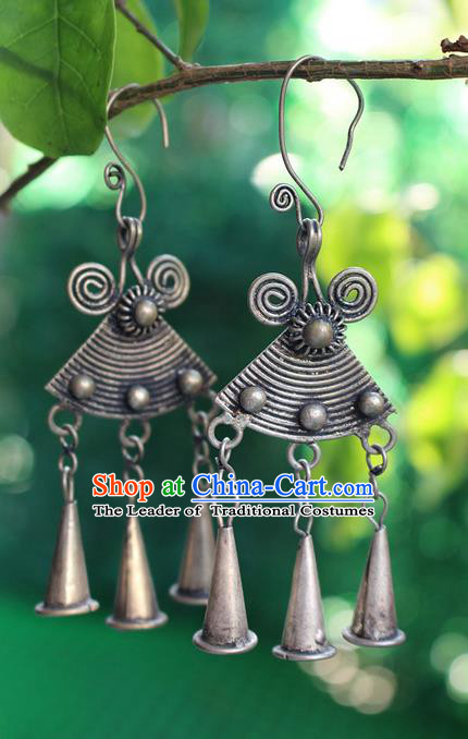 Traditional Chinese Miao Nationality Crafts Jewelry Accessory Classical Earbob Accessories, Hmong Handmade Miao Silver Palace Bells Tassel Earrings, Miao Ethnic Minority Eardrop for Women