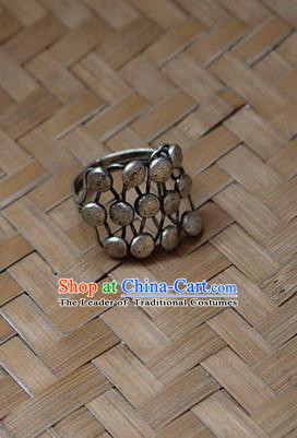 Traditional Chinese Miao Nationality Crafts Jewelry Accessory Classical Ring, Hmong Handmade Miao Silver Palace Finger Ring, Miao Ethnic Minority Ring for Women