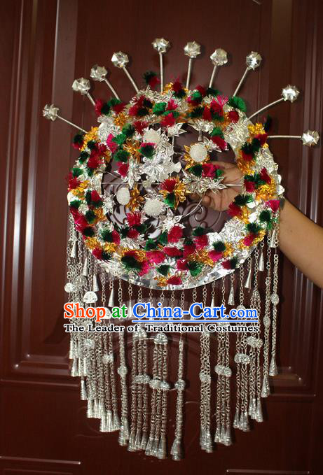 Traditional Chinese Miao Nationality Crafts Jewelry Accessory Hair Accessories, Hmong Handmade Miao Silver Palace Lady Headwear Hair Tuinga, Miao Ethnic Minority Hair Fascinators Hairpins Phoenix Coronet for Women