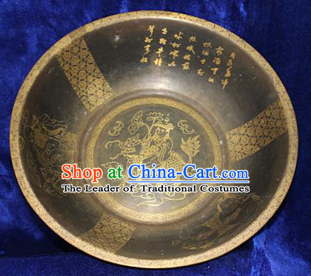 Traditional Chinese Miao Nationality Crafts Decoration Accessory, Hmong Handmade Exorcise Evil Copper Pot, Miao Ethnic Minority Kylin Copper Pot