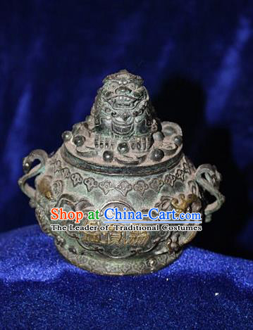 Traditional Chinese Miao Nationality Crafts Decoration Accessory Bronze Censer, Hmong Handmade Lion Burner Ornaments, Miao Ethnic Minority Exorcise Evil Incense Burner