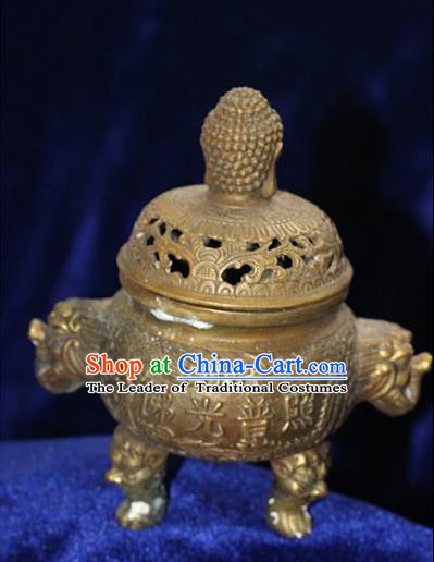 Traditional Chinese Miao Nationality Crafts Decoration Accessory Bronze Censer, Hmong Handmade Buddharupa Burner Ornaments, Miao Ethnic Minority Exorcise Evil Incense Burner
