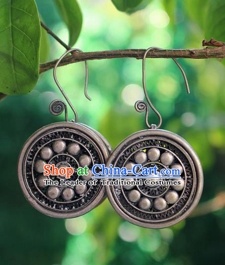 Traditional Chinese Miao Nationality Crafts Jewelry Accessory Classical Earbob Accessories, Hmong Handmade Miao Silver Round Palace Lady Earrings, Miao Ethnic Minority Eardrop for Women