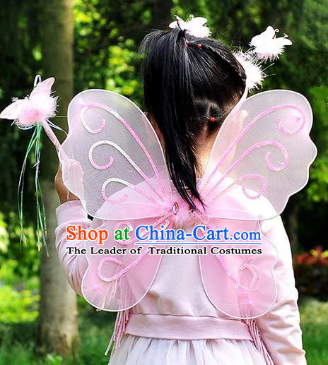 Chinese Children Kindergarten Stage Performance Angel Stockings Butterfly Wings
