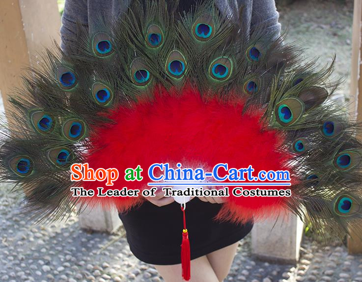 Traditional Handmade Chinese Classical Peacock Feather Fans, China Folk Dance Fan Dance Stage Performance Fan for Women