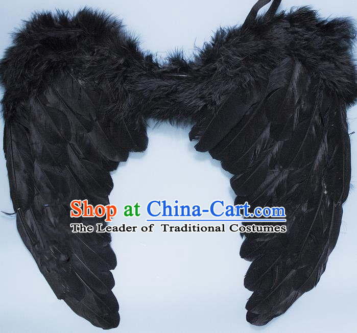 Chinese Children Kindergarten Stage Performance Prop Angel Black Feather Butterfly Wings for Kids