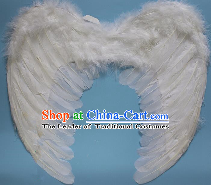 Chinese Children Kindergarten Stage Performance Prop Angel White Feather Butterfly Wings for Kids