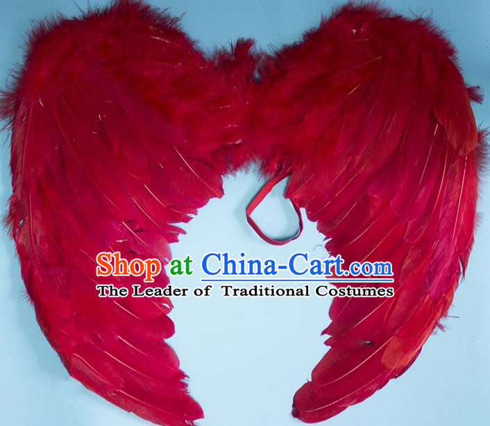 Chinese Children Kindergarten Stage Performance Prop Angel Red Feather Butterfly Wings for Kids