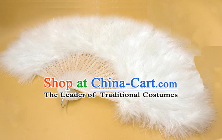 Traditional Handmade Chinese Classical Feather Fans, China Folk Dance Fan Dance Stage Performance White Fan for Women