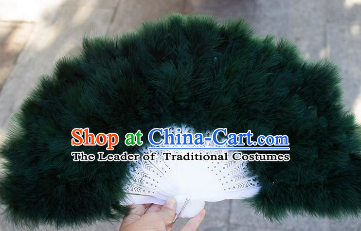Traditional Handmade Chinese Classical Feather Fans, China Folk Dance Fan Dance Stage Performance Black Fan for Women