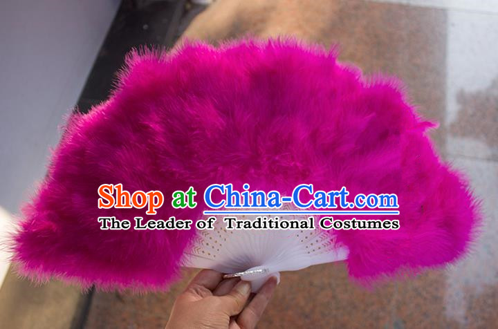 Traditional Handmade Chinese Classical Feather Fans, China Folk Dance Fan Dance Stage Performance Rose Fan for Women