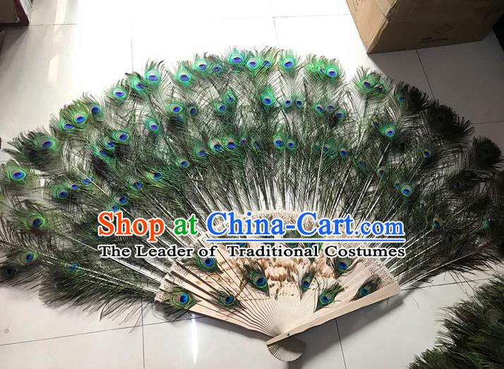 Traditional Handmade Chinese Classical Peacock Feather Fans, China Folk Dance Fan Dance Stage Performance Large Size Fan for Women