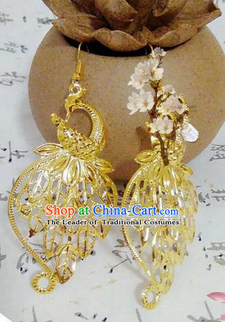 Traditional Handmade Chinese Ancient Classical Accessories Earrings, Han Dynasty Imperial Consort Eardrop, Hanfu Imperial Princess Peacock Earbob for Women