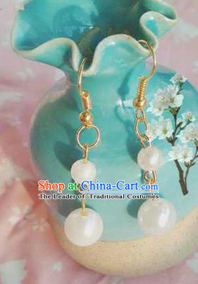 Traditional Handmade Chinese Ancient Classical Accessories Earrings, Han Dynasty Imperial Consort Pearl Eardrop, Hanfu Imperial Princess Tassel Earbob for Women