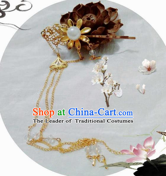 Traditional Handmade Chinese Ancient Classical Hair Accessories, Han Dynasty Barrettes Hairpin, Hanfu Hair Sticks Tassel Hair Claw, Hair Fascinators Hairpins for Women