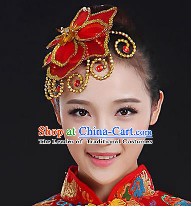 Traditional Handmade Chinese Yangge Fan Dancing Classical Hair Accessories, Folk Dance Yangko Peacock Dance Red Flower Headwear For Women