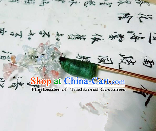 Traditional Handmade Chinese Ancient Classical Hair Accessories, Han Dynasty Barrettes Opal Hairpin, Hanfu Hair Sticks Hair Jewellery, Hair Fascinators Hairpins for Women