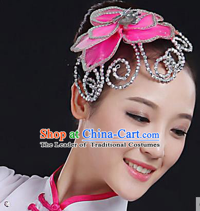 Traditional Handmade Chinese Yangge Fan Dancing Classical Hair Accessories, Folk Dance Yangko Peacock Dance Pink Flower Headwear For Women