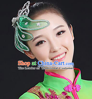 Traditional Handmade Chinese Yangge Fan Dancing Classical Hair Accessories, Folk Dance Yangko Peacock Dance Green Flower Headwear For Women