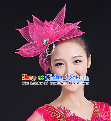 Traditional Handmade Chinese Yangge Fan Dancing Classical Hair Accessories, Folk Dance Yangko Peacock Dance Pink Lotus Flower Headwear For Women