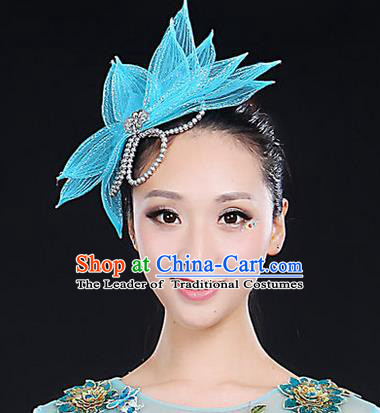 Traditional Handmade Chinese Yangge Fan Dancing Classical Hair Accessories, Folk Dance Yangko Peacock Dance Blue Lotus Flower Headwear For Women