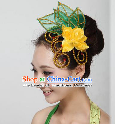 Traditional Handmade Chinese Yangge Fan Dancing Classical Hair Accessories, Folk Dance Yangko Peacock Dance Yellow Peony Headwear For Women