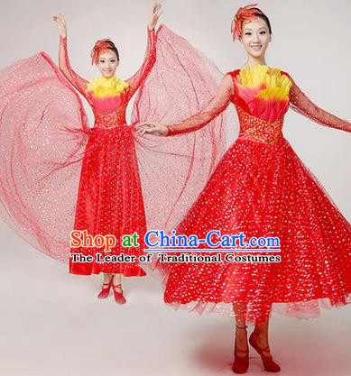 Traditional Chinese Modern Dancing Costume, Women Opening Classic Chorus Singing Group Dance Paillette Costume, Folk Dance Yangko Costume, Modern Dance Long Red Peony Dress for Women