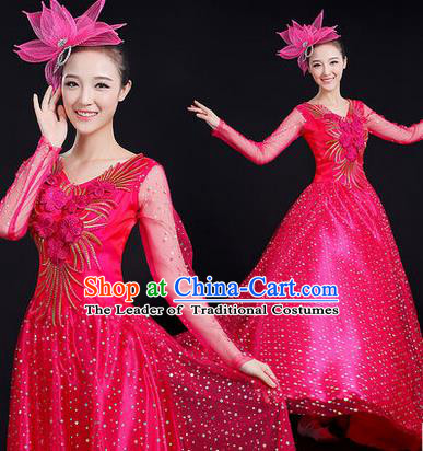 Traditional Chinese Modern Dancing Costume, Women Opening Classic Stage Performance Chorus Singing Group Dance Paillette Costume, Modern Dance Long Rose Dress for Women