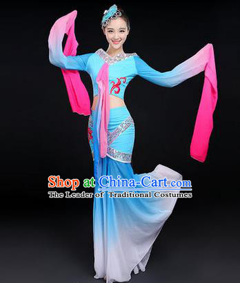 Traditional Chinese Yangge Fan Dancing Costume, Folk Dance Yangko Water-Sleeve Costume Drum Dance Blue Fairy Hanfu Clothing for Women