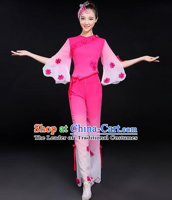 Traditional Chinese Yangge Fan Dancing Costume, Folk Dance Yangko Costume Drum Dance Classic Dance Jasmine Flower Pink Clothing for Women