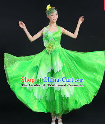 Traditional Chinese Modern Dancing Costume, Women Opening Classic Chorus Singing Group Dance Costume, Folk Dance Yangko Peony Costume, Modern Dance Green Dress for Women